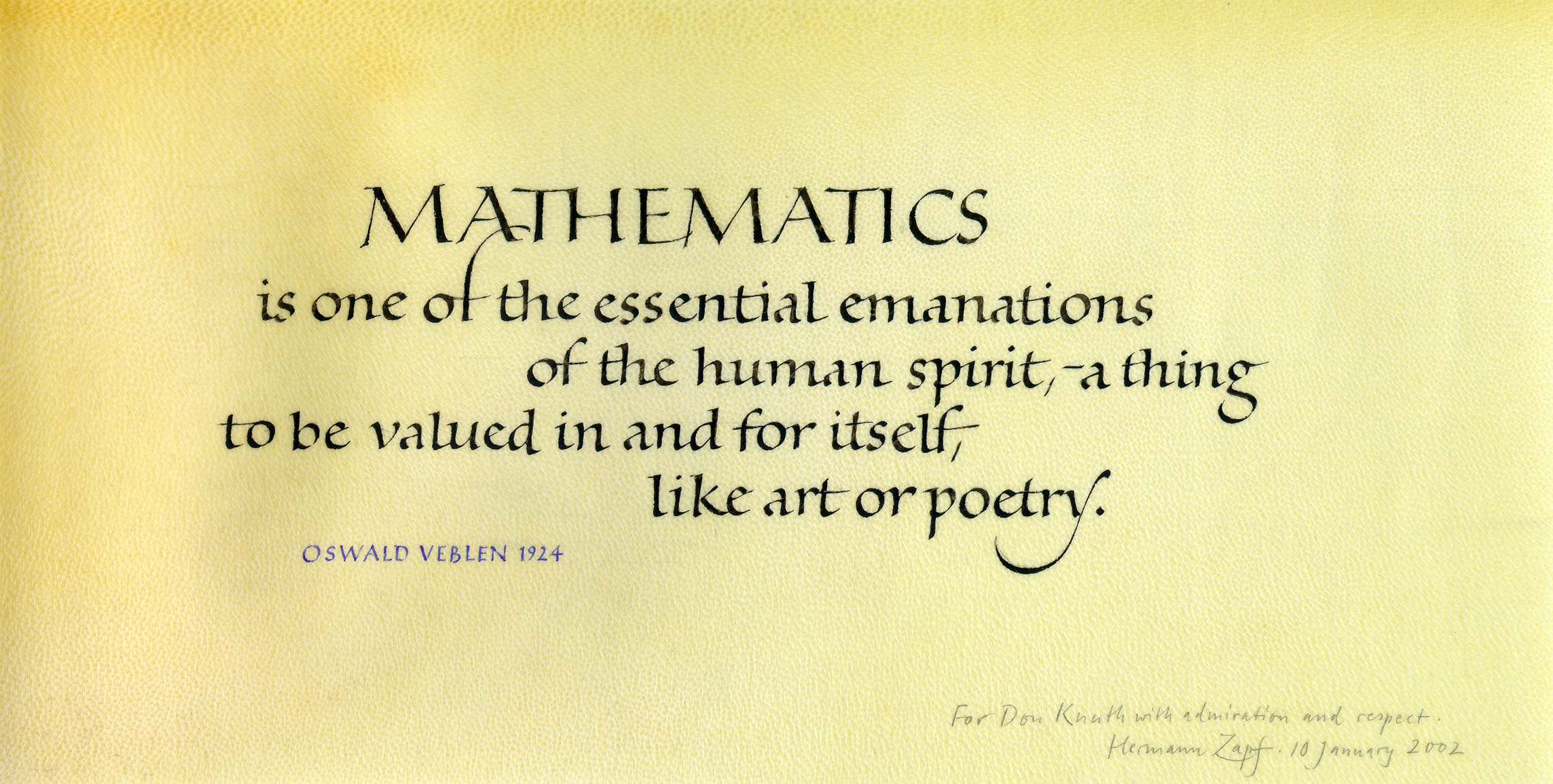 Mathematics (calligraphy received as a birthday present, 10 January ...